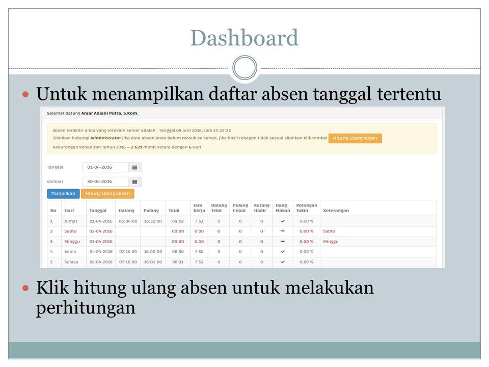 Dashboard Untuk menampilkan daftar absen tanggal tertentu Klik hitung ulang absen untuk melakukan perhitungan