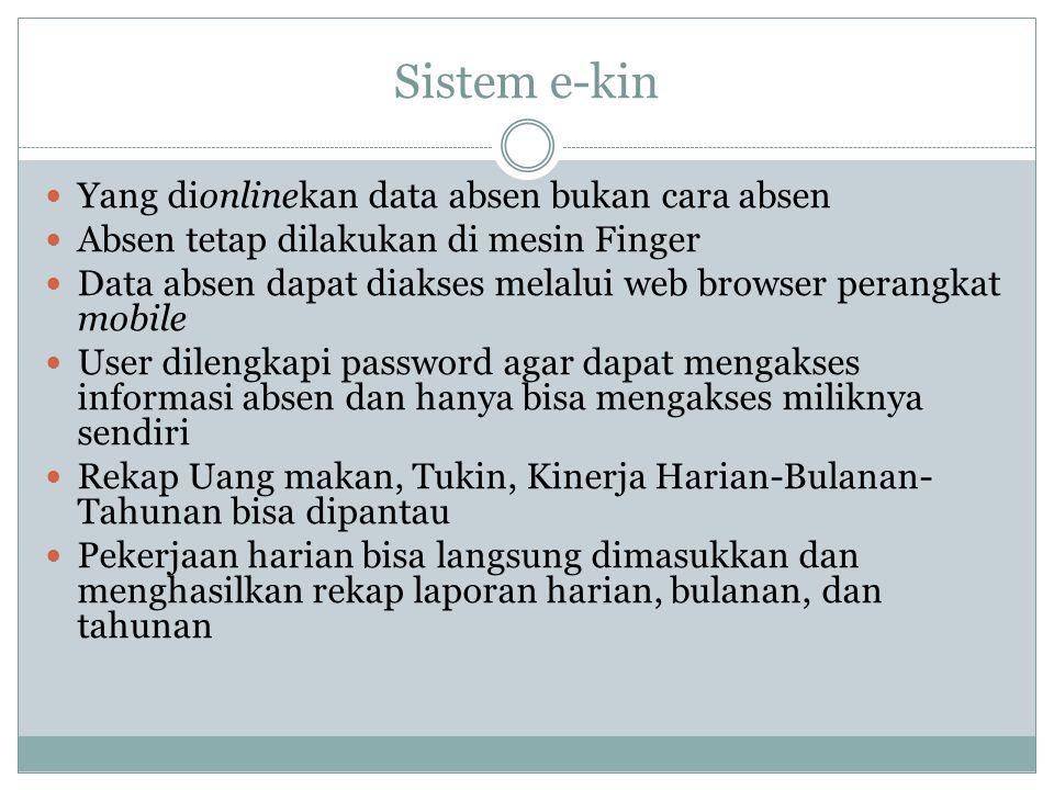 Sistem e-kin Yang dionlinekan data absen bukan cara absen Absen tetap dilakukan di mesin Finger Data absen dapat diakses melalui web browser perangkat