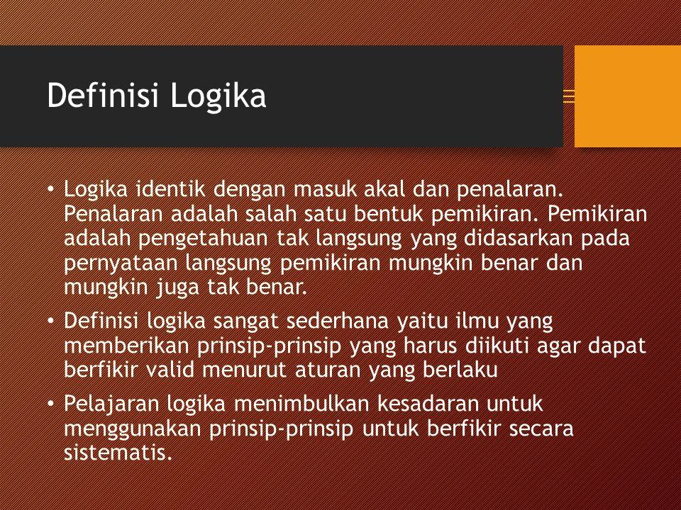 Definisi Logika Logika identik dengan masuk akal dan penalaran.