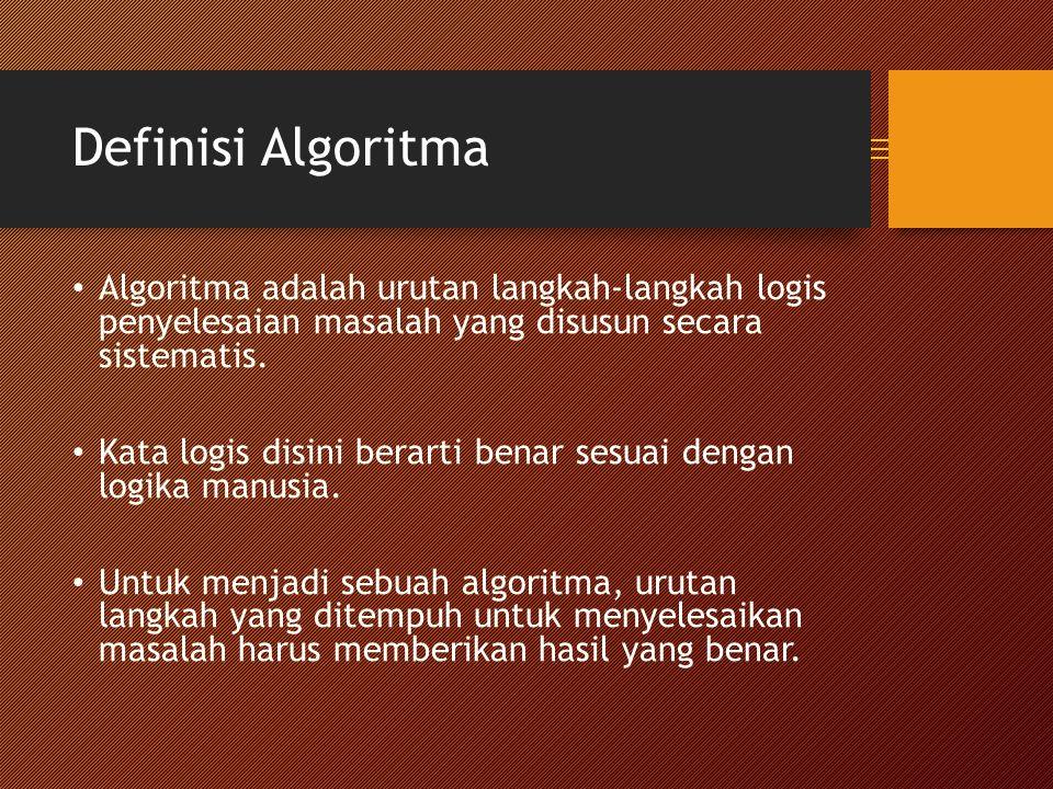 Definisi Algoritma Algoritma adalah urutan langkah-langkah logis penyelesaian masalah yang disusun secara sistematis.