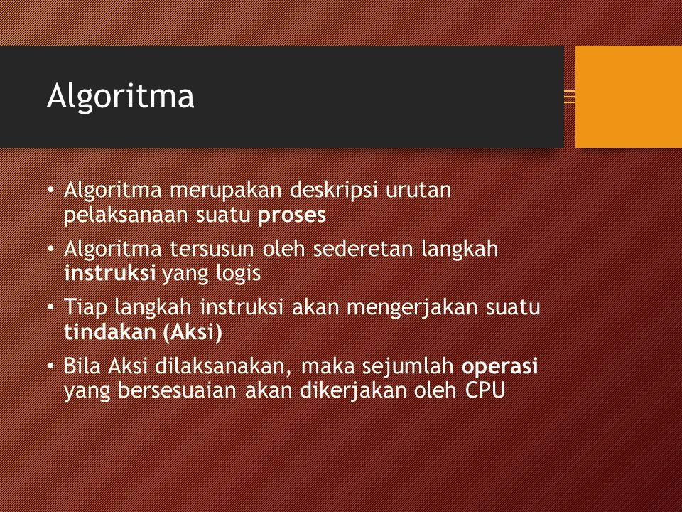 Algoritma Algoritma merupakan deskripsi urutan pelaksanaan suatu proses Algoritma tersusun oleh sederetan langkah instruksi yang logis Tiap langkah instruksi akan mengerjakan suatu tindakan (Aksi) Bila Aksi dilaksanakan, maka sejumlah operasi yang bersesuaian akan dikerjakan oleh CPU