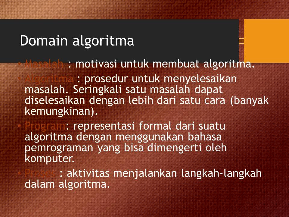 Domain algoritma Masalah : motivasi untuk membuat algoritma.