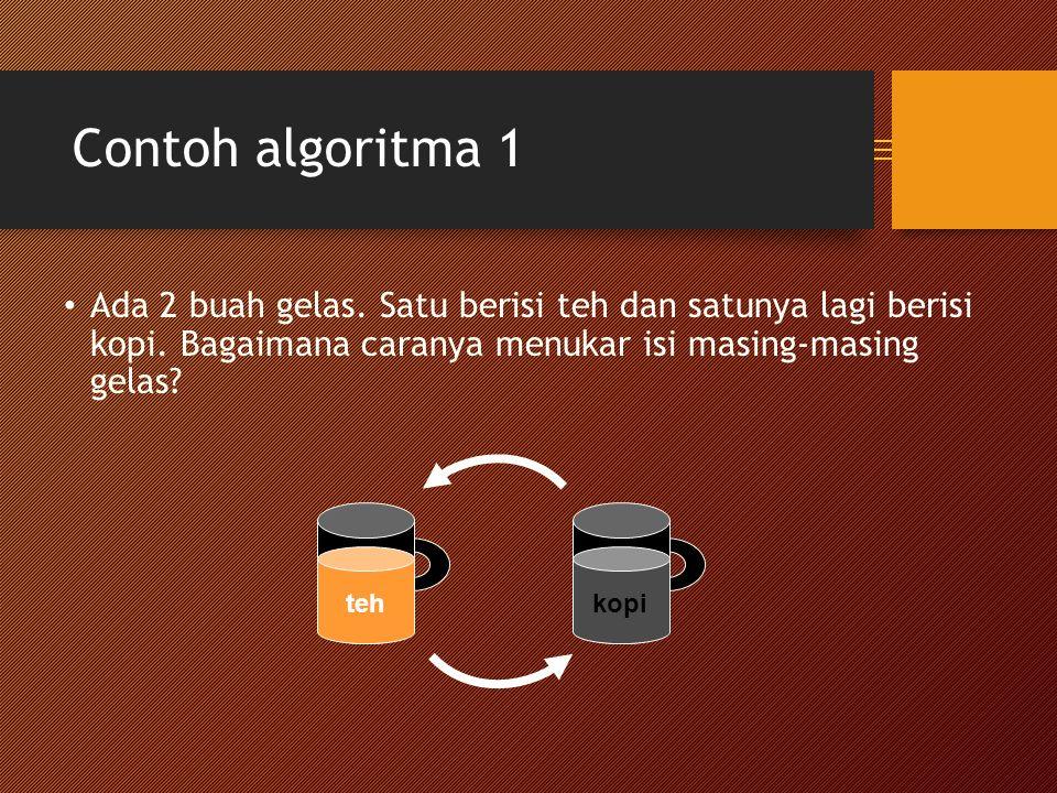 Contoh algoritma 1 Ada 2 buah gelas.Satu berisi teh dan satunya lagi berisi kopi.