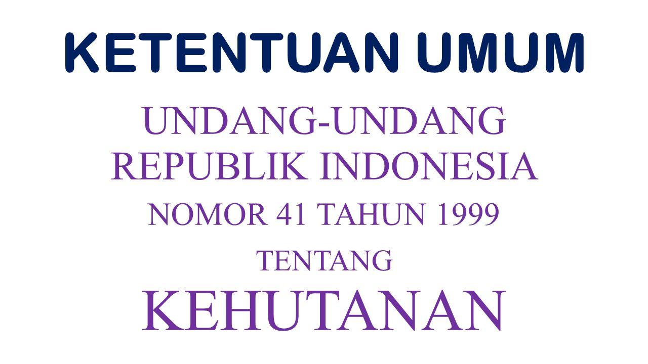 KETENTUAN UMUM UNDANG-UNDANG REPUBLIK INDONESIA NOMOR 41 TAHUN 1999 TENTANG KEHUTANAN