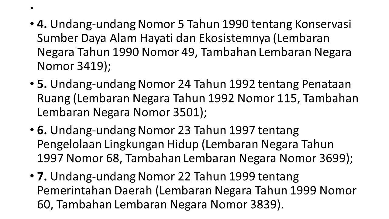 . 4. Undang-undang Nomor 5 Tahun 1990 tentang Konservasi Sumber Daya Alam Hayati dan Ekosistemnya (Lembaran Negara Tahun 1990 Nomor 49, Tambahan Lemba