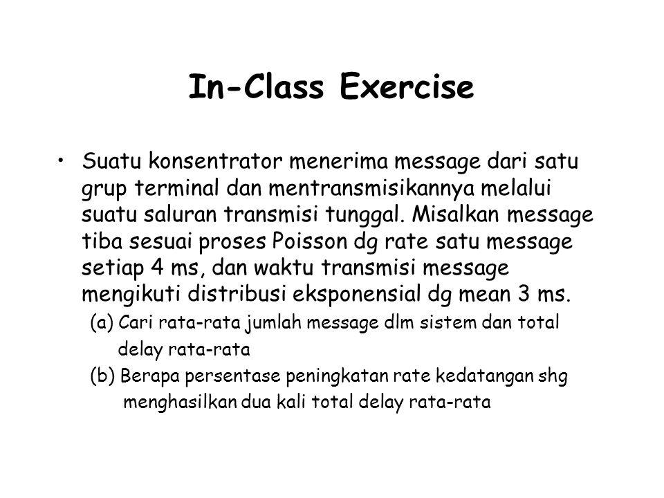 In-Class Exercise Suatu konsentrator menerima message dari satu grup terminal dan mentransmisikannya melalui suatu saluran transmisi tunggal. Misalkan