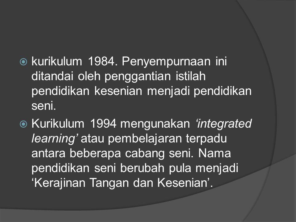  Kurikulum 2004 yang lebih dahulu populer dengan sebutan Kurikulum Berbasis Kompetensi (KBK) Standar kompetensi yang dirumuskan dalam KBK sangat jelas yaitu mempersiapkan peserta didik agar memiliki kapabilitas pengetahuan serta keterampilan seni sejalan dengan tuntutan dan perkembangan zaman.