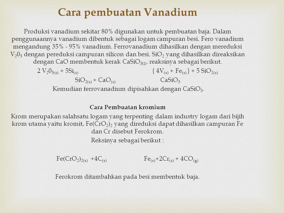 Cara pembuatan Vanadium Produksi vanadium sekitar 80% digunakan untuk pembuatan baja.