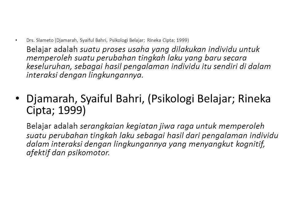Drs. Slameto (Djamarah, Syaiful Bahri, Psikologi Belajar; Rineka Cipta; 1999) Belajar adalah suatu proses usaha yang dilakukan individu untuk memperol