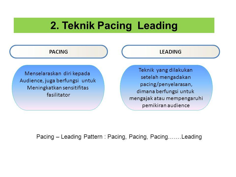 PACINGLEADING 2. Teknik Pacing Leading Menselaraskan diri kepada Audience, juga berfungsi untuk Meningkatkan sensitifitas fasilitator Teknik yang dila