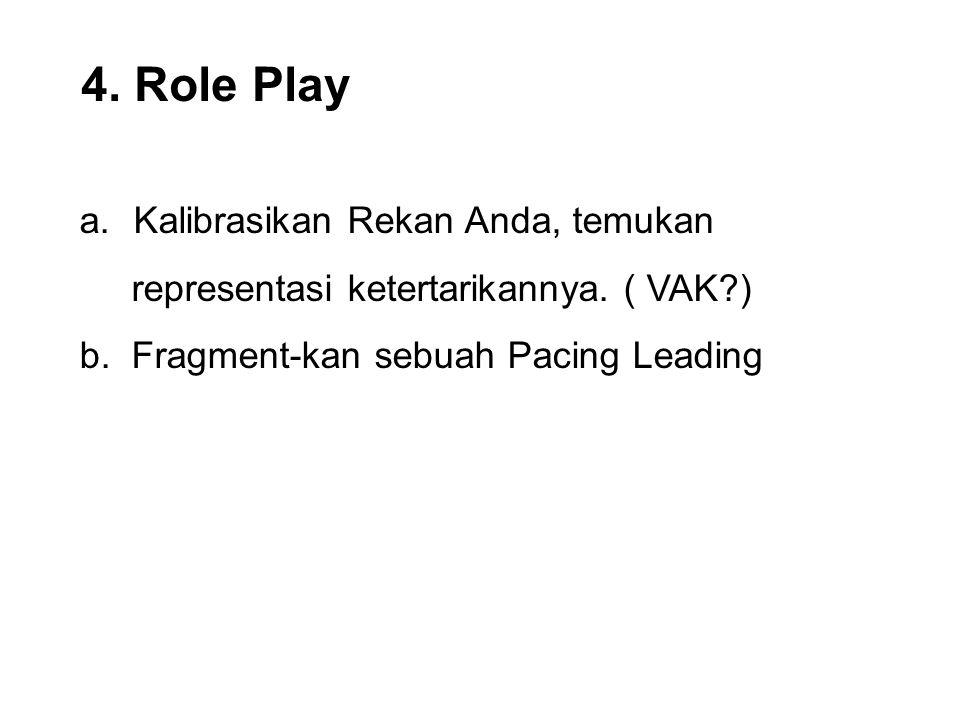 4. Role Play a.Kalibrasikan Rekan Anda, temukan representasi ketertarikannya. ( VAK?) b. Fragment-kan sebuah Pacing Leading