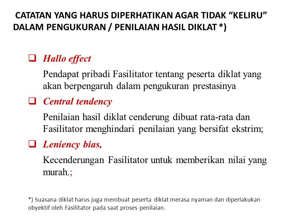  Hallo effect Pendapat pribadi Fasilitator tentang peserta diklat yang akan berpengaruh dalam pengukuran prestasinya  Central tendency Penilaian has