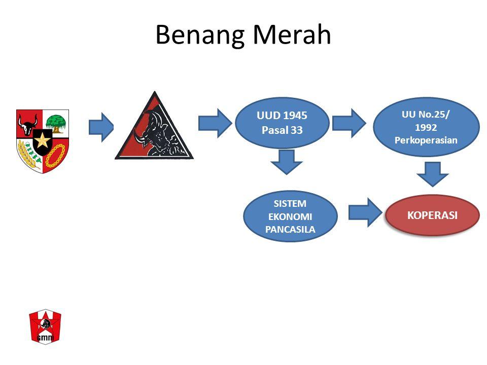 Benang Merah SISTEM EKONOMI PANCASILA KOPERASI UUD 1945 Pasal 33 UU No.25/ 1992 Perkoperasian