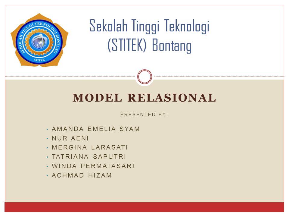 MODEL RELASIONAL PRESENTED BY: AMANDA EMELIA SYAM NUR AENI MERGINA LARASATI TATRIANA SAPUTRI WINDA PERMATASARI ACHMAD HIZAM Sekolah Tinggi Teknologi (
