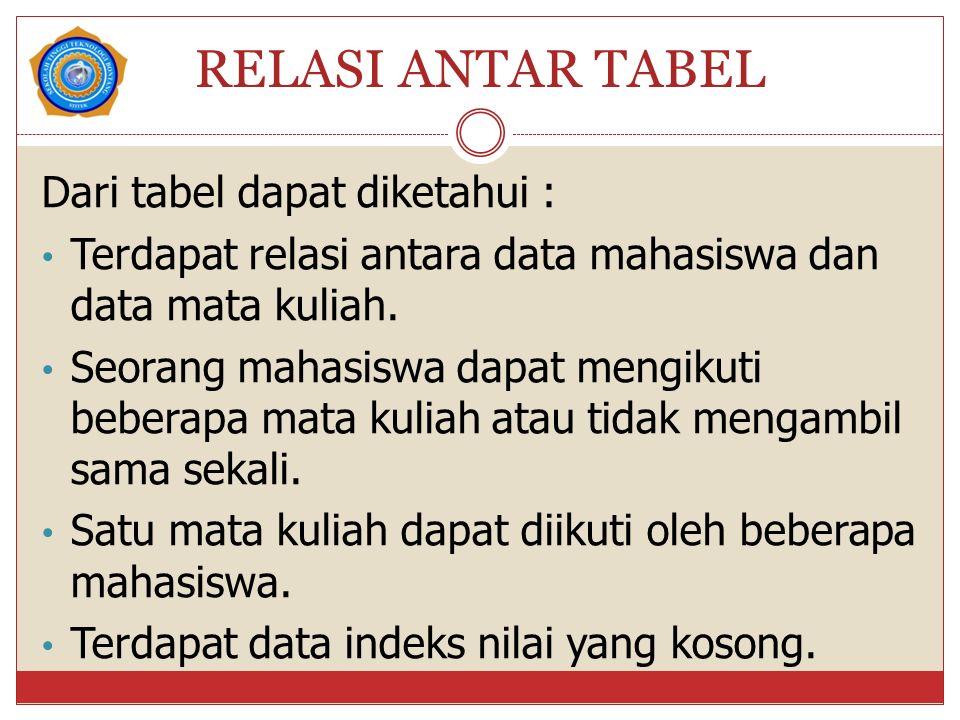 RELASI ANTAR TABEL Dari tabel dapat diketahui : Terdapat relasi antara data mahasiswa dan data mata kuliah.