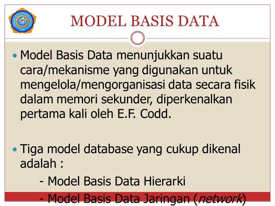 MODEL BASIS DATA Model Basis Data menunjukkan suatu cara/mekanisme yang digunakan untuk mengelola/mengorganisasi data secara fisik dalam memori sekunder, diperkenalkan pertama kali oleh E.F.