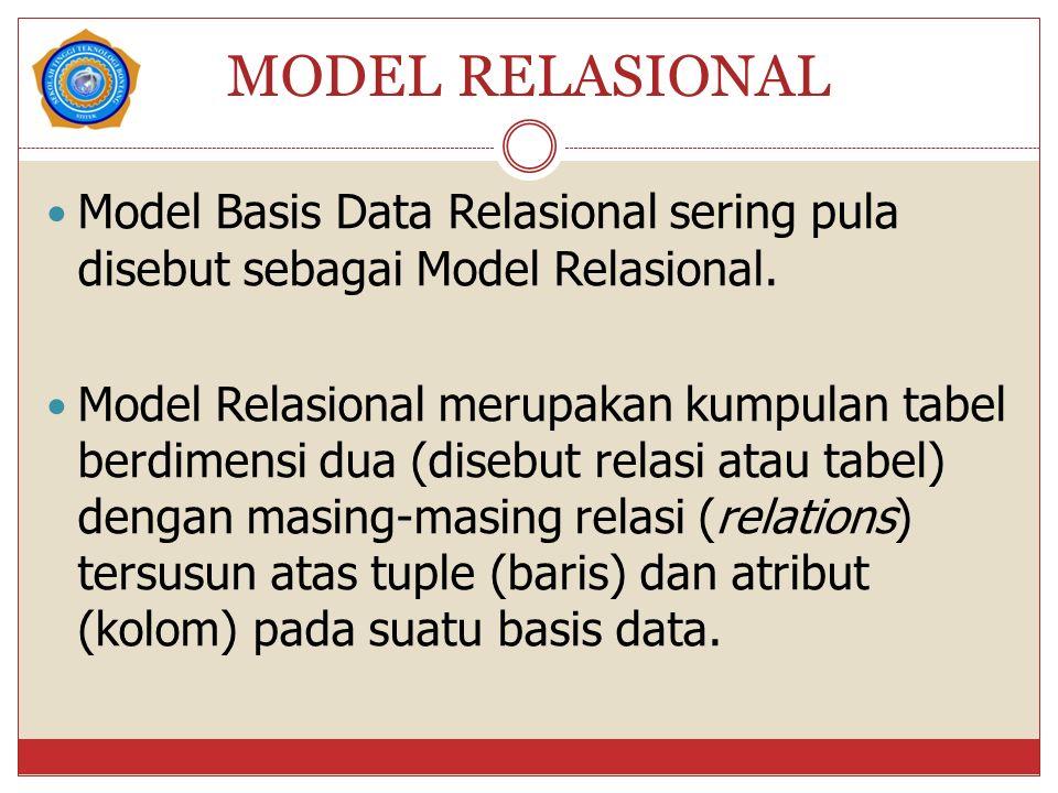 MODEL RELASIONAL Model Basis Data Relasional sering pula disebut sebagai Model Relasional. Model Relasional merupakan kumpulan tabel berdimensi dua (d