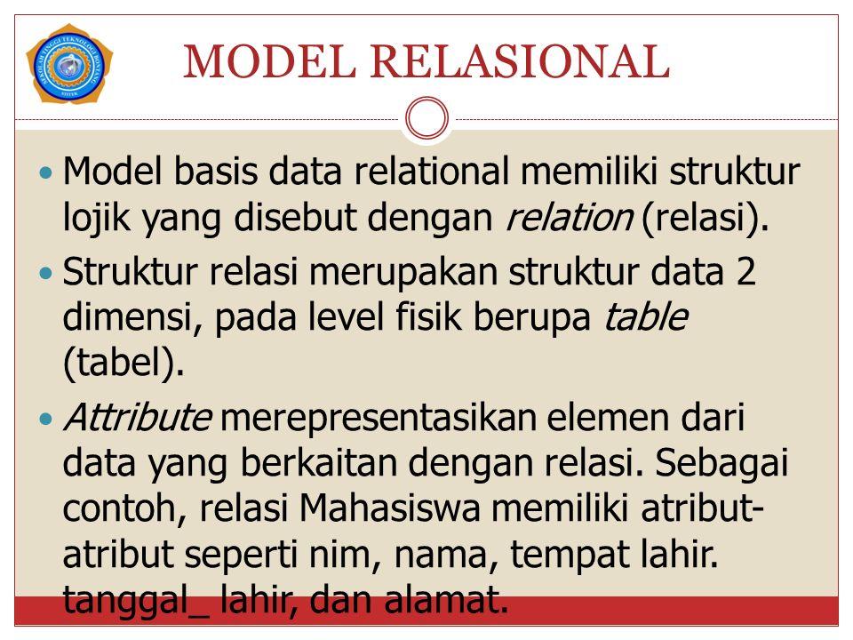 MODEL RELASIONAL Model basis data relational memiliki struktur lojik yang disebut dengan relation (relasi). Struktur relasi merupakan struktur data 2