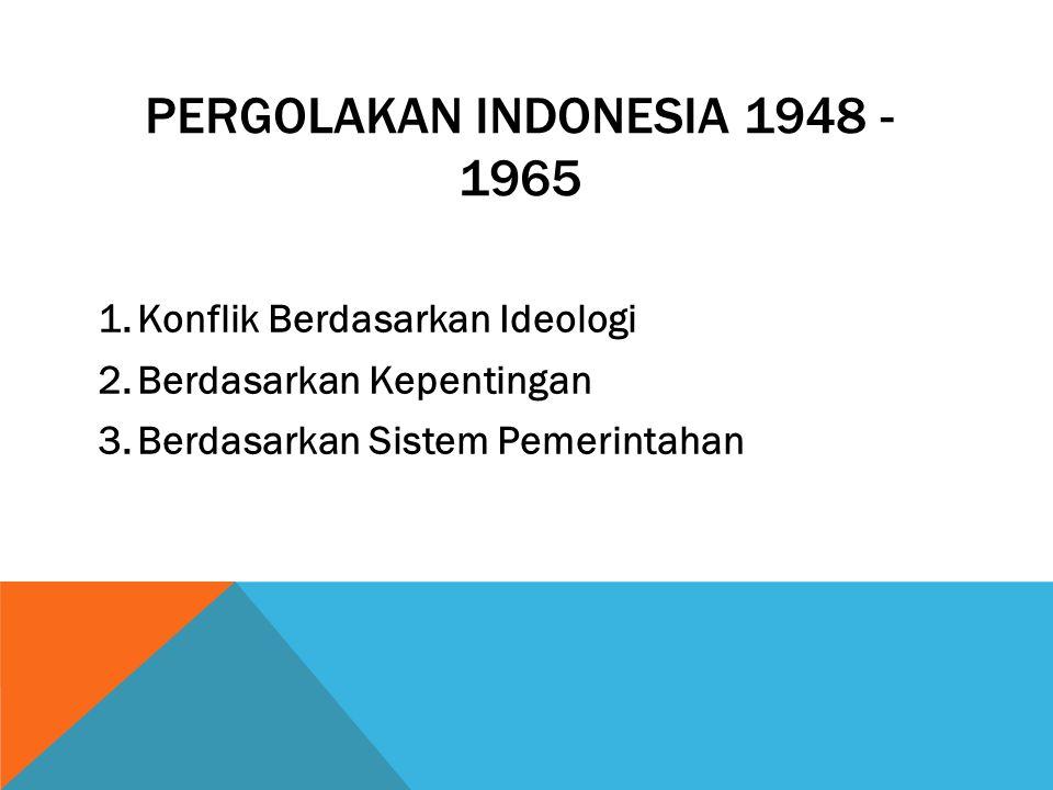 PERGOLAKAN INDONESIA 1948 - 1965 1.Konflik Berdasarkan Ideologi 2.Berdasarkan Kepentingan 3.Berdasarkan Sistem Pemerintahan