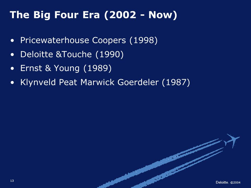Deloitte. ©2004 13 Pricewaterhouse Coopers (1998) Deloitte &Touche (1990) Ernst & Young (1989) Klynveld Peat Marwick Goerdeler (1987) The Big Four Era