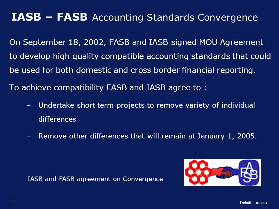 Deloitte. ©2004 22 IASB – FASB Accounting Standards Convergence On September 18, 2002, FASB and IASB signed MOU Agreement to develop high quality comp