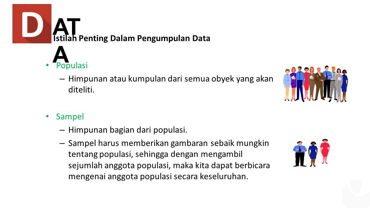 AT A Istilah Penting Dalam Pengumpulan Data Populasi – Himpunan atau kumpulan dari semua obyek yang akan diteliti.