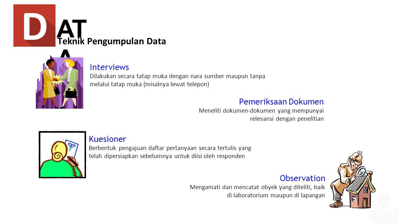 AT A Teknik Pengumpulan Data Interviews Dilakukan secara tatap muka dengan nara sumber maupun tanpa melalui tatap muka (misalnya lewat telepon) Kuesio