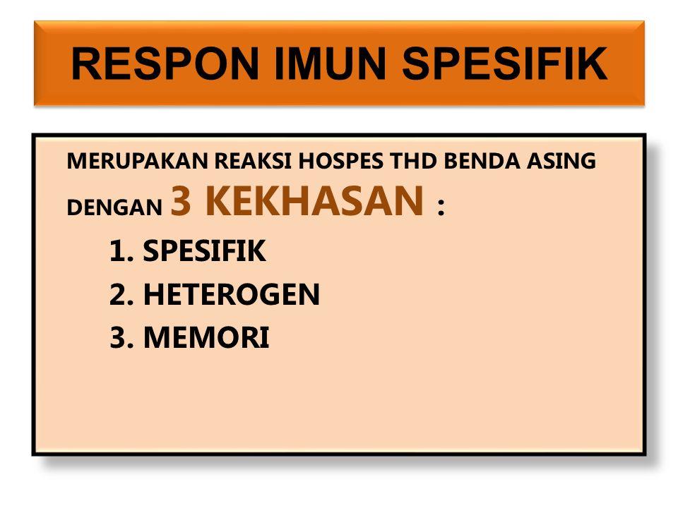 RESPON IMUN SPESIFIK MERUPAKAN REAKSI HOSPES THD BENDA ASING DENGAN 3 KEKHASAN : 1.