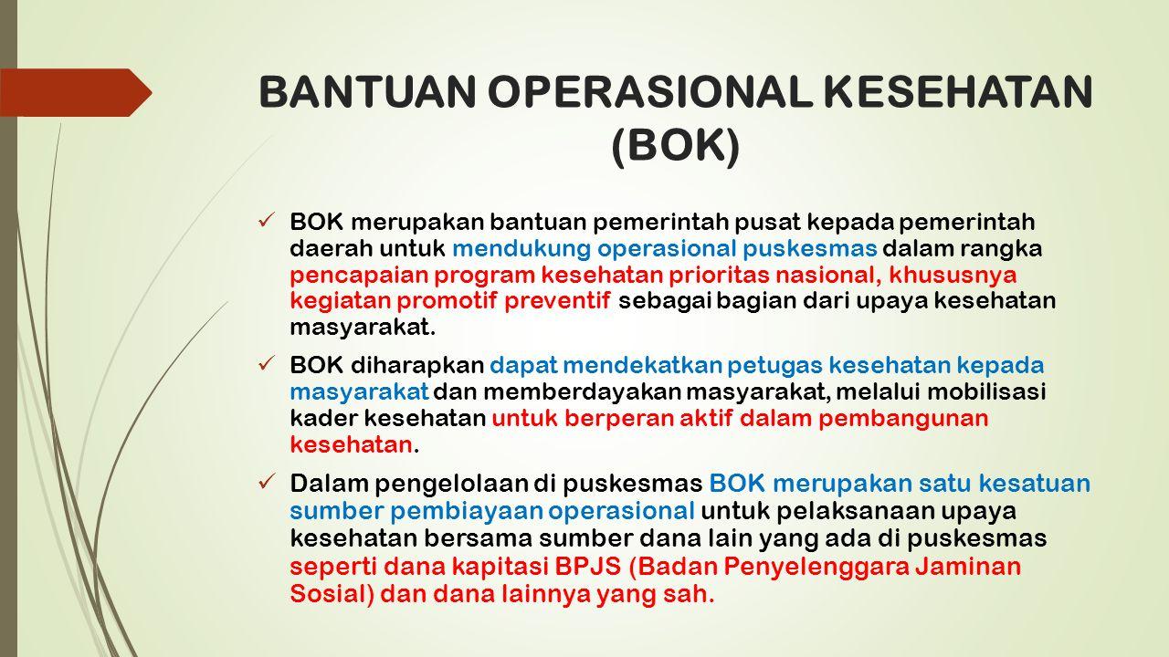 BANTUAN OPERASIONAL KESEHATAN (BOK) BOK merupakan bantuan pemerintah pusat kepada pemerintah daerah untuk mendukung operasional puskesmas dalam rangka pencapaian program kesehatan prioritas nasional, khususnya kegiatan promotif preventif sebagai bagian dari upaya kesehatan masyarakat.