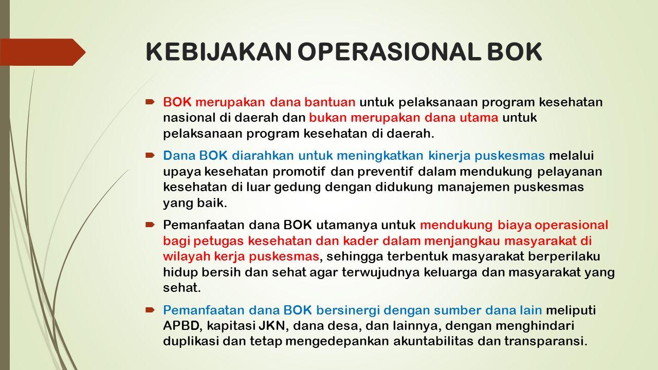 KEBIJAKAN OPERASIONAL BOK  BOK merupakan dana bantuan untuk pelaksanaan program kesehatan nasional di daerah dan bukan merupakan dana utama untuk pelaksanaan program kesehatan di daerah.