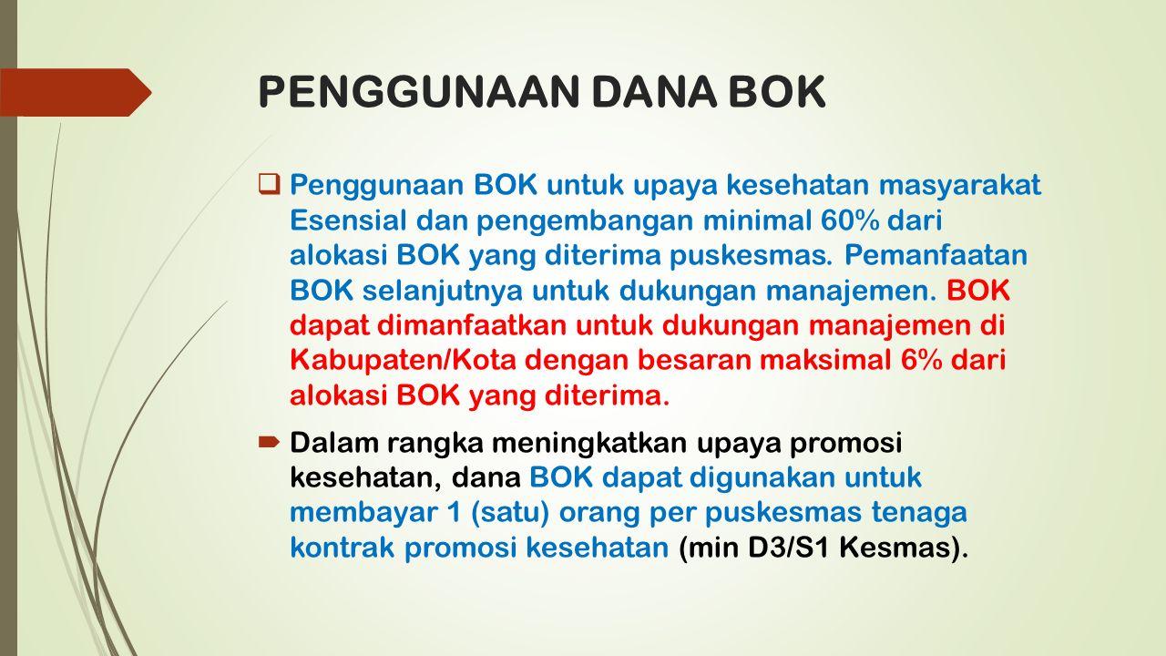 PENGGUNAAN DANA BOK  Penggunaan BOK untuk upaya kesehatan masyarakat Esensial dan pengembangan minimal 60% dari alokasi BOK yang diterima puskesmas.