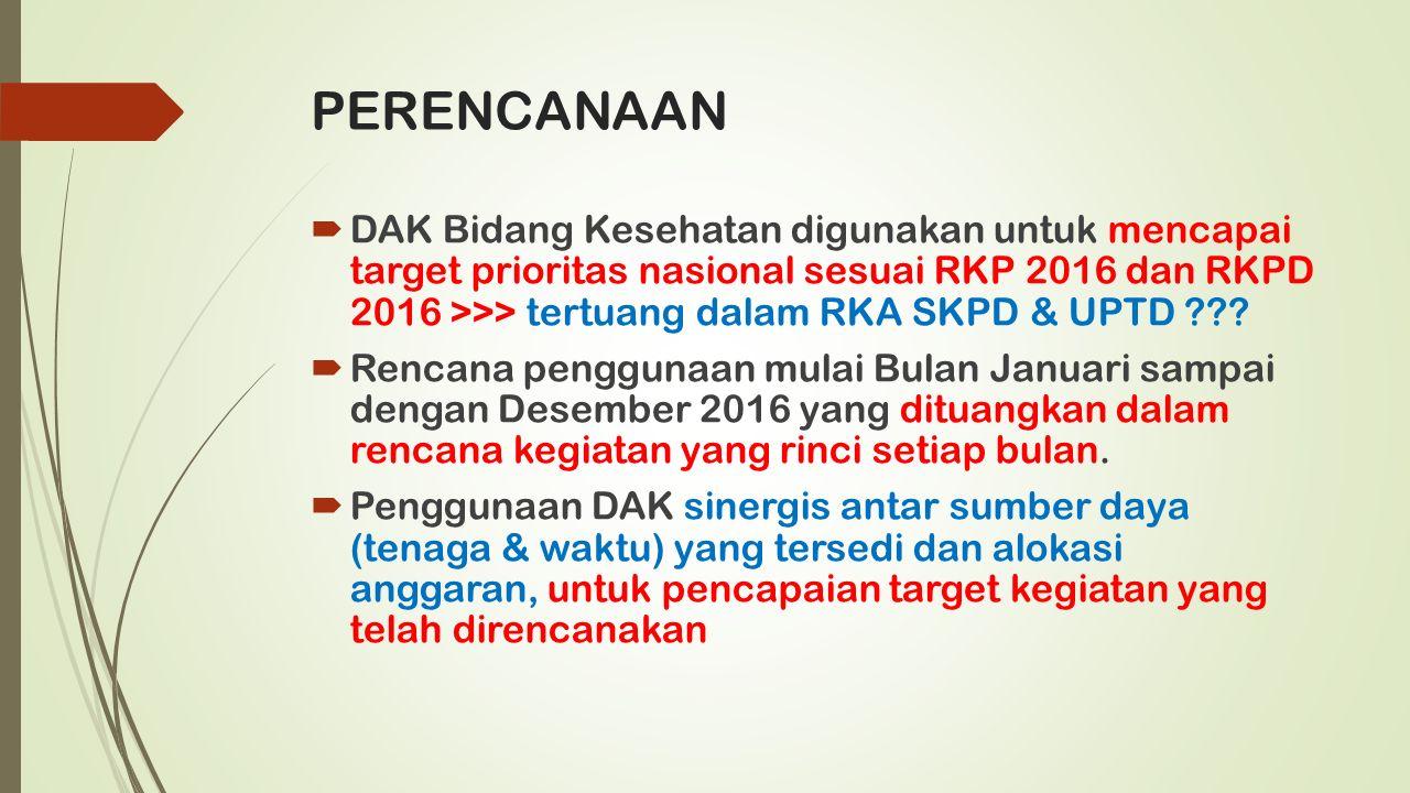 PERENCANAAN  DAK Bidang Kesehatan digunakan untuk mencapai target prioritas nasional sesuai RKP 2016 dan RKPD 2016 >>> tertuang dalam RKA SKPD & UPTD ??.