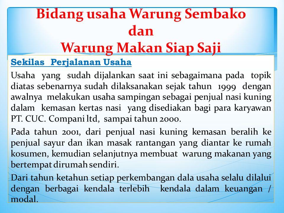 Sekilas Perjalanan Usaha Usaha yang sudah dijalankan saat ini sebagaimana pada topik diatas sebenarnya sudah dilaksanakan sejak tahun 1999 dengan awalnya melakukan usaha sampingan sebagai penjual nasi kuning dalam kemasan kertas nasi yang disediakan bagi para karyawan PT.