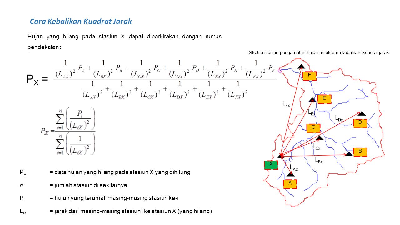 Hujan yang hilang pada stasiun X dapat diperkirakan dengan rumus pendekatan : P X = data hujan yang hilang pada stasiun X yang dihitung n= jumlah stas
