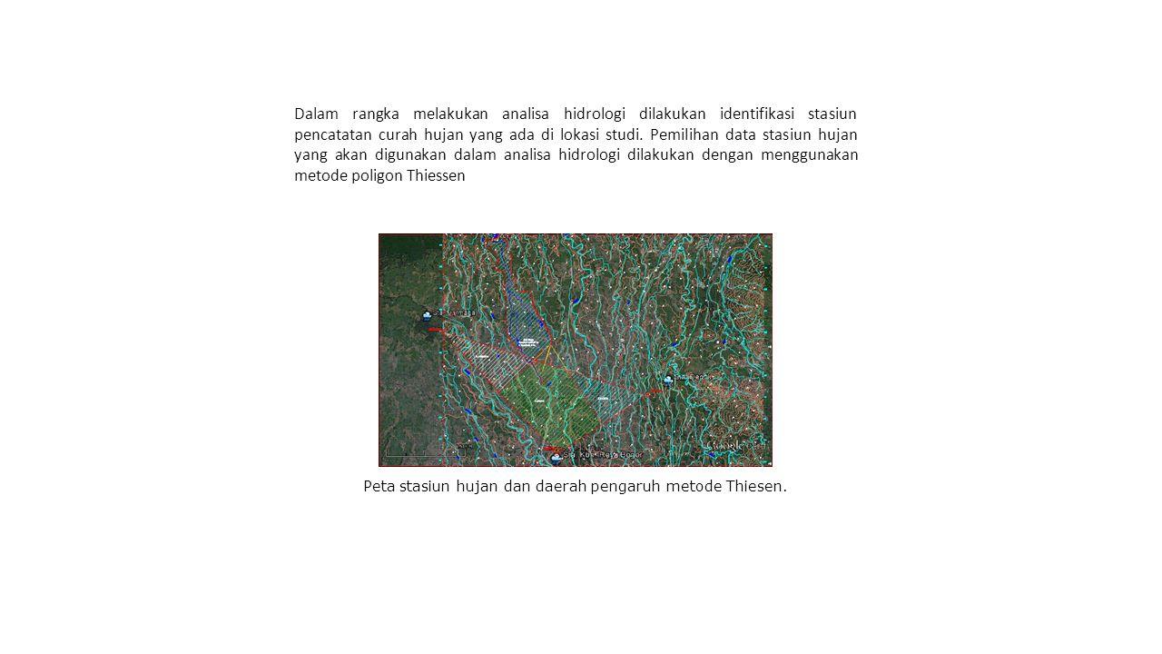 Sketsa penyusunan daerah pengaruh hujan dengan menggunakan poligon Thiessen.