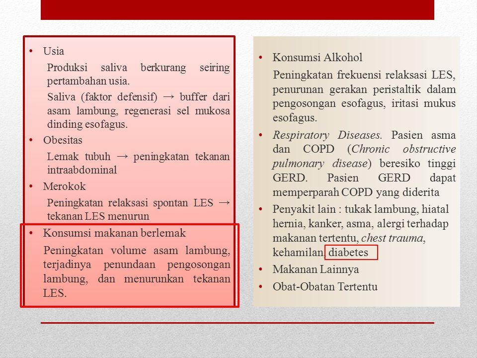 Gejala Atypical Asam menstimulasi neuron aferen vagal diseofagus distal → menyebabkan nyeri dada (bukan jantung) dan mediasi bronkospasme asma Asma dan GERD adalah kondisi umum yang sering berdampingan dengan 50-80 % dari penderita asma memiliki GERD.