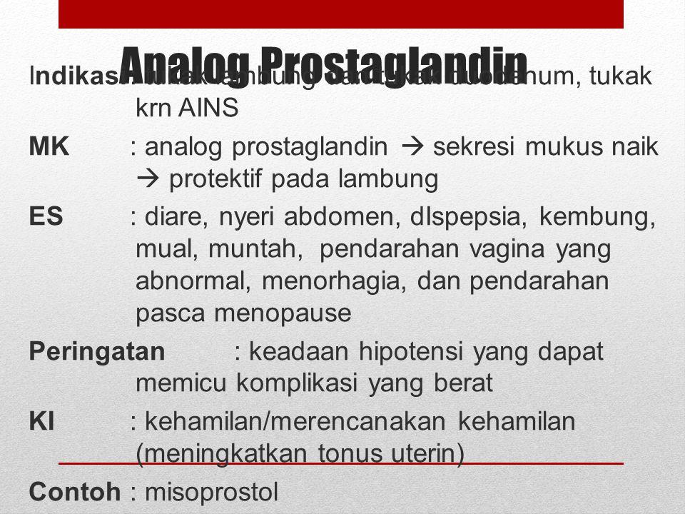 Peringatan : kurangi dosis untuk pasien gangguan ginjal dan hati. Tidak digunakan pd pasien hamil dan menyusui Contoh :simetidin Membutuhkan waktu 30-