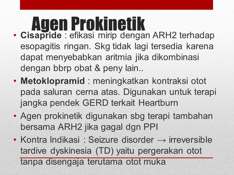 Sukralfat Terdiri atas sukrosa oktasulfat ditambah aluminium hidroksida Indikasi : tukak lambung dan tukak duodenum MK : membentuk gel yang kental dan lengket yang melekat kuat pada sel-sel epitel (pd pH < 4) shg menghambat hidrolisis protein mukosa oleh pepsin; memiliki efek sitoprotektif tambahan (stimulasi produksi lokal prostaglandin) Perhatian : pasien gagal ginjal krn beresiko thd kelebihan aluminium Penggunaan : saat kondisi lambung kosong 1 jam sblm makan Perhatian : hindari penggunaan antasid dlm waktu 30 menit stlh pemberian sukralfat