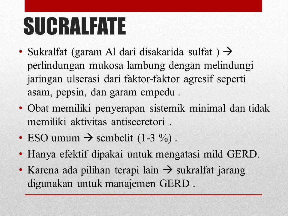 CharacteristicOmeprazoleLansoprazolePantoprazoleRabeprazoleEsomeprazole Onset1hr1-2hr<2 hr1,75 hr1,5hr Durasi72hr>1day 48-72 hr Bioavailability30-40%8