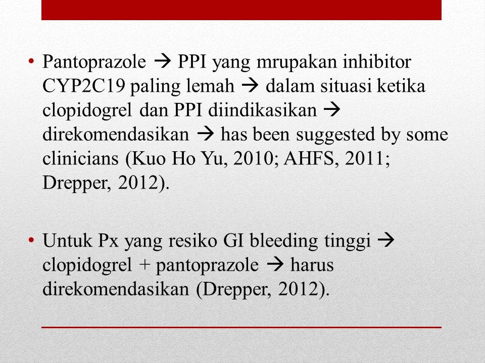 Potensial PPI yang melemahkan efikasi clopidogrel  diminimalkan pemakaian dexlansoprazole atau lansoprazole (omeprazole > esomeprazole > lansoprazole > dexlansoprazole) (Andrew, 2012).