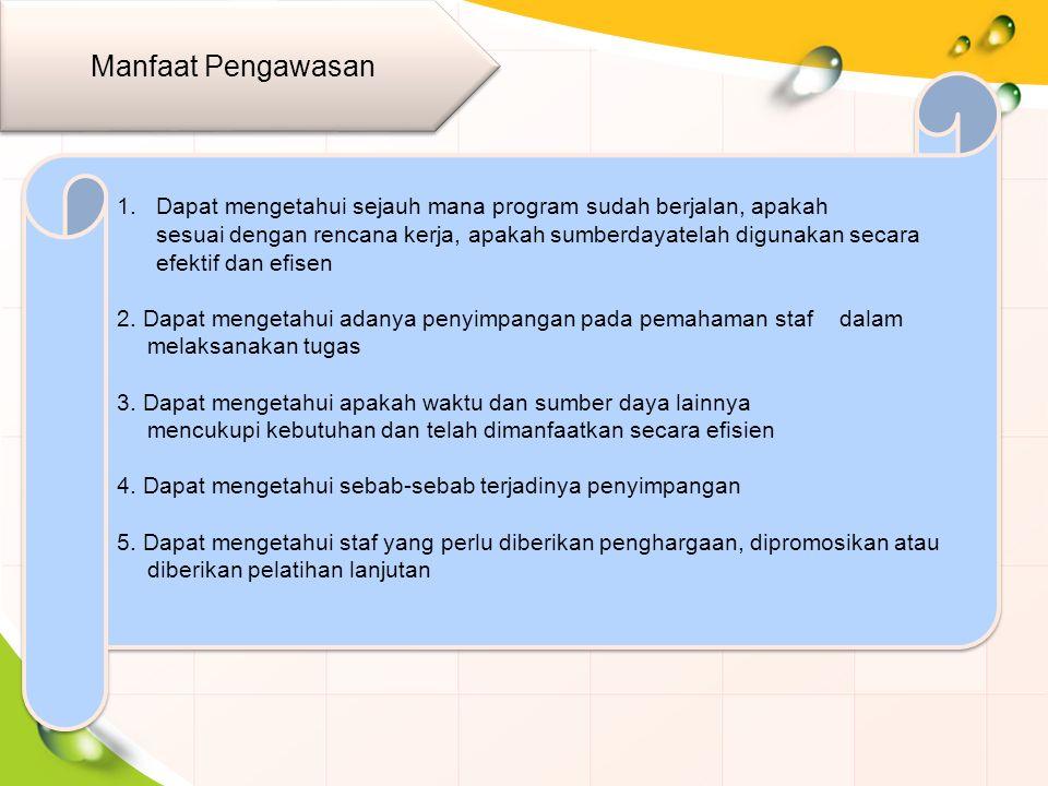 1.Dapat mengetahui sejauh mana program sudah berjalan, apakah sesuai dengan rencana kerja, apakah sumberdayatelah digunakan secara efektif dan efisen