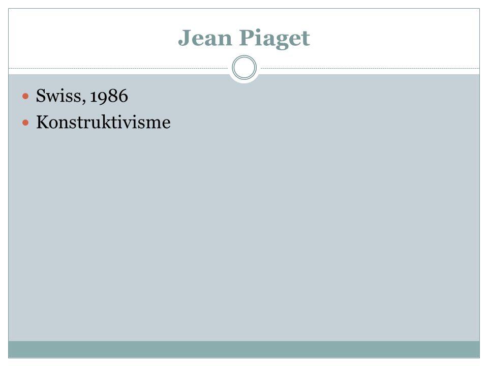 Jean Piaget Swiss, 1986 Konstruktivisme