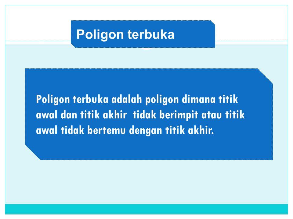 Poligon terbuka adalah poligon dimana titik awal dan titik akhir tidak berimpit atau titik awal tidak bertemu dengan titik akhir. Poligon terbuka