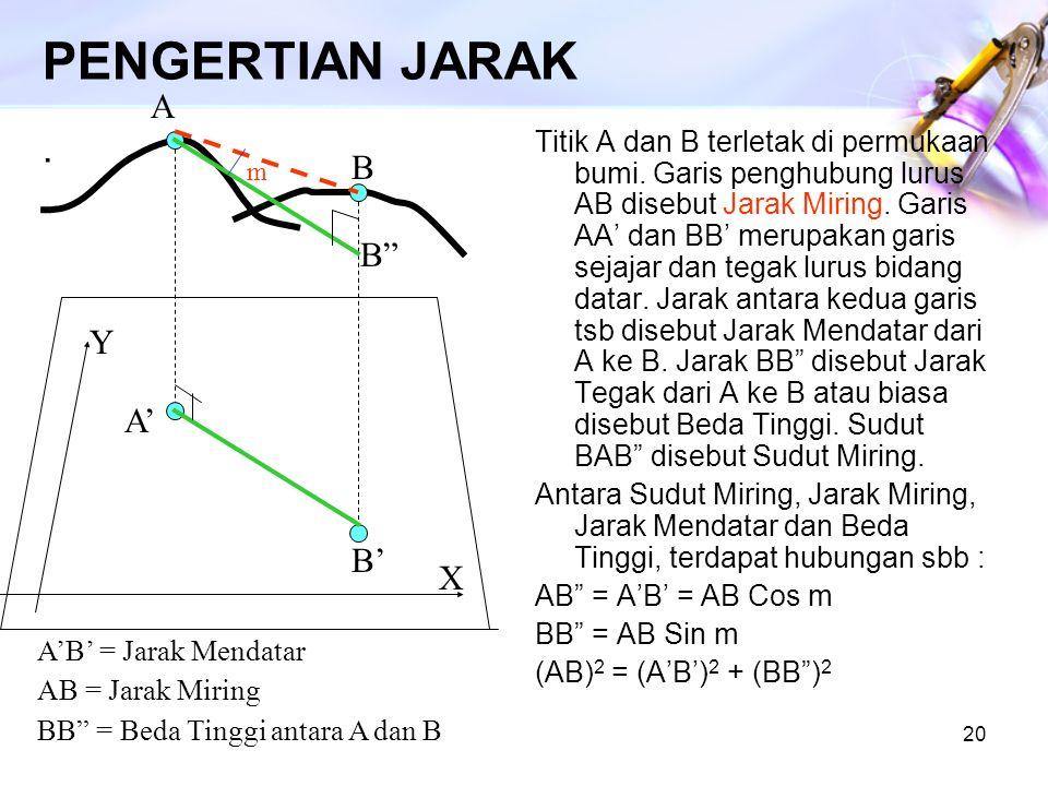 20 PENGERTIAN JARAK. Titik A dan B terletak di permukaan bumi. Garis penghubung lurus AB disebut Jarak Miring. Garis AA' dan BB' merupakan garis sejaj