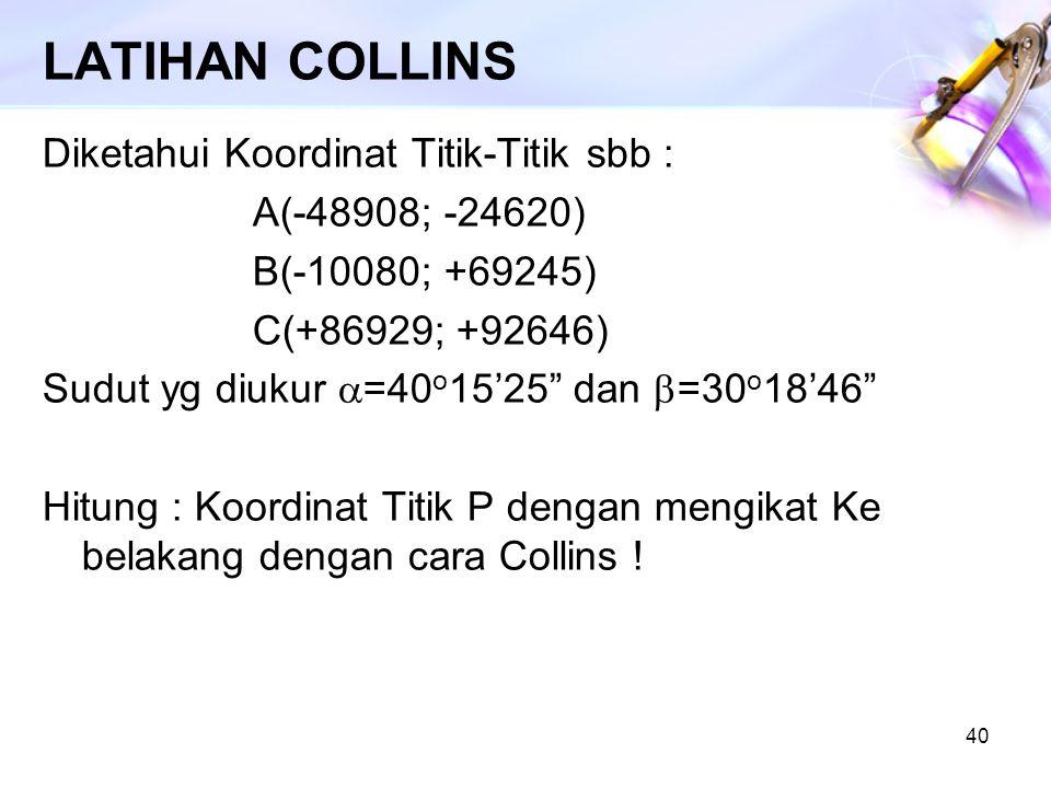 "40 LATIHAN COLLINS Diketahui Koordinat Titik-Titik sbb : A(-48908; -24620) B(-10080; +69245) C(+86929; +92646) Sudut yg diukur  =40 o 15'25"" dan  =3"