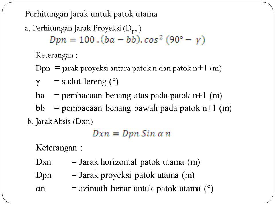 Perhitungan Jarak untuk patok utama a. Perhitungan Jarak Proyeksi (D pn ) Keterangan : Dpn= jarak proyeksi antara patok n dan patok n+1 (m) γ= sudut l