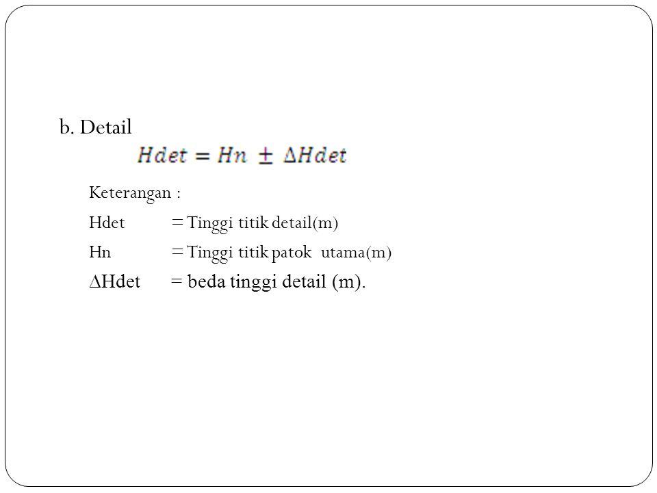 b. Detail Keterangan : Hdet= Tinggi titik detail(m) Hn= Tinggi titik patok utama(m) ∆Hdet= beda tinggi detail (m).