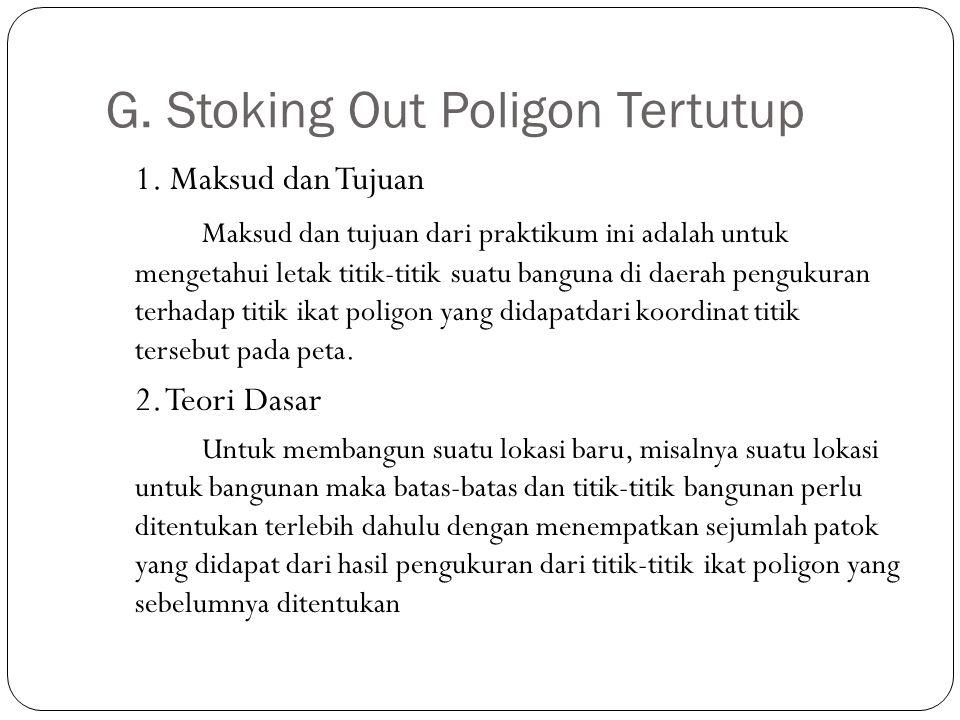 G. Stoking Out Poligon Tertutup 1. Maksud dan Tujuan Maksud dan tujuan dari praktikum ini adalah untuk mengetahui letak titik-titik suatu banguna di d