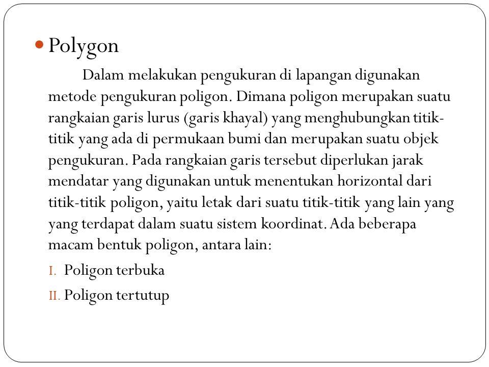 Polygon Dalam melakukan pengukuran di lapangan digunakan metode pengukuran poligon. Dimana poligon merupakan suatu rangkaian garis lurus (garis khayal