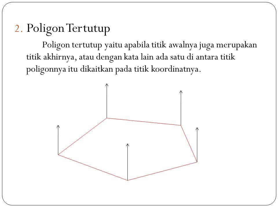 2. Poligon Tertutup Poligon tertutup yaitu apabila titik awalnya juga merupakan titik akhirnya, atau dengan kata lain ada satu di antara titik poligon